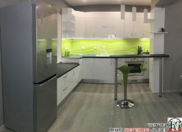 K015 - Кухня: Бял гланц, Grey Pietra Marble, Дъга_15