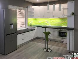 K015 - Кухня: Бял гланц, Grey Pietra Marble, Дъга_1