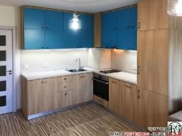 K006 - Кухня: Мармара синьо, дъб нагано и Авалон крем_1